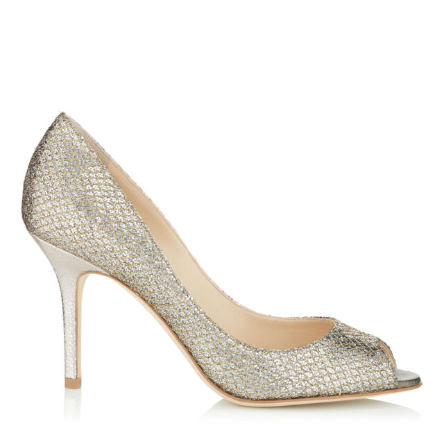 bfb09245956 New Sz 10.5 JIMMY CHOO  Evelyn  peep toe pump Champagne Glitter Heel Shoes  ITALY