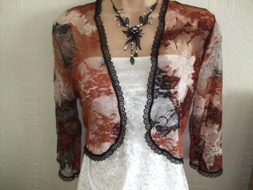 Negro//Multi encogiéndose de hombros bolero de encaje elástico-Nuevo-tamaños 10-24