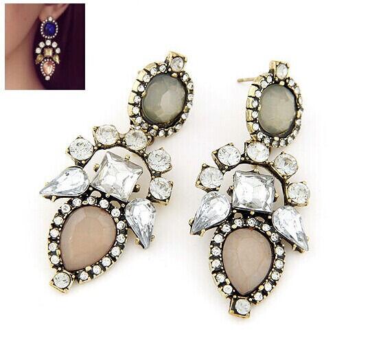 Hot New Fashion Luxury Crystal Resin Flower Long Statement Dangle Earring Stud