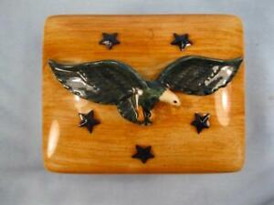 Pennsbury Pottery Cigarette Box Flying Eagle Blue Stars & Feathers Scarce (O2)