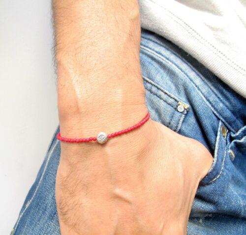 Argent Sterling 925 Mauvais Œil Amulette perles corail rouge Gem Natural Bracelet chance