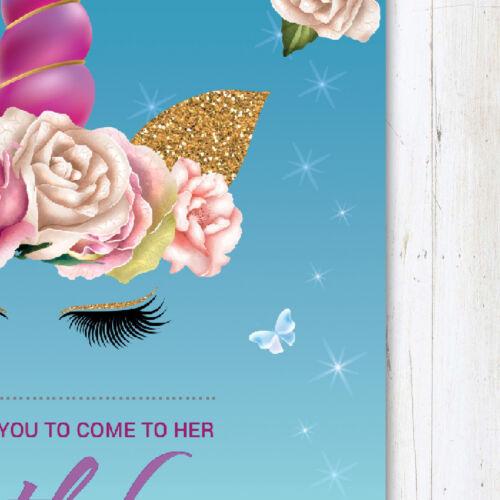 10 x Unicorn Birthday Party Invitations Invites Girl Children Kids With Envelope