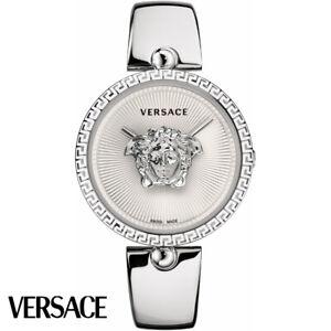 Versace-VCO090017-Palazzo-Empire-weiss-silber-Edelstahl-Armband-Uhr-Damen-NEU
