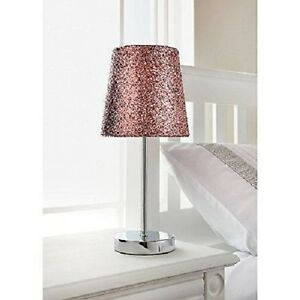 Image Is Loading Glitter Pink Table Lamp Amp Silver Chrome Stand