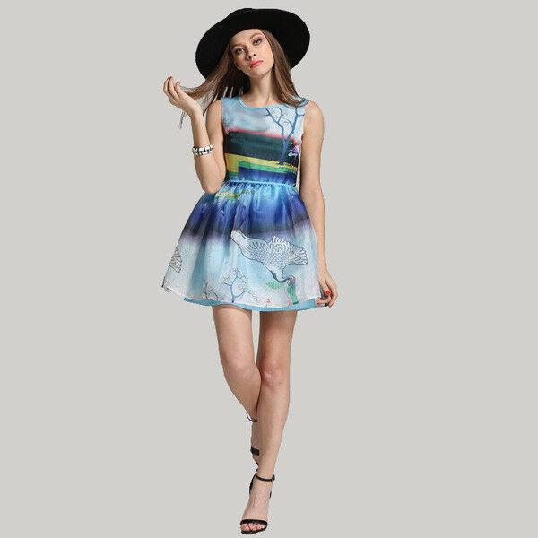 Elegante Elegante Elegante vestito abito scampanato estivo leggero coloreato morbido 4026 766d40