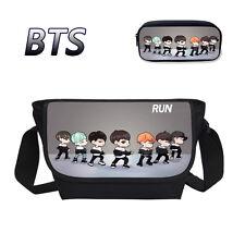 KPOP BTS Messenger Bag Boys Girls Bangtan Shoulder School Bag & Pen Pencil Case