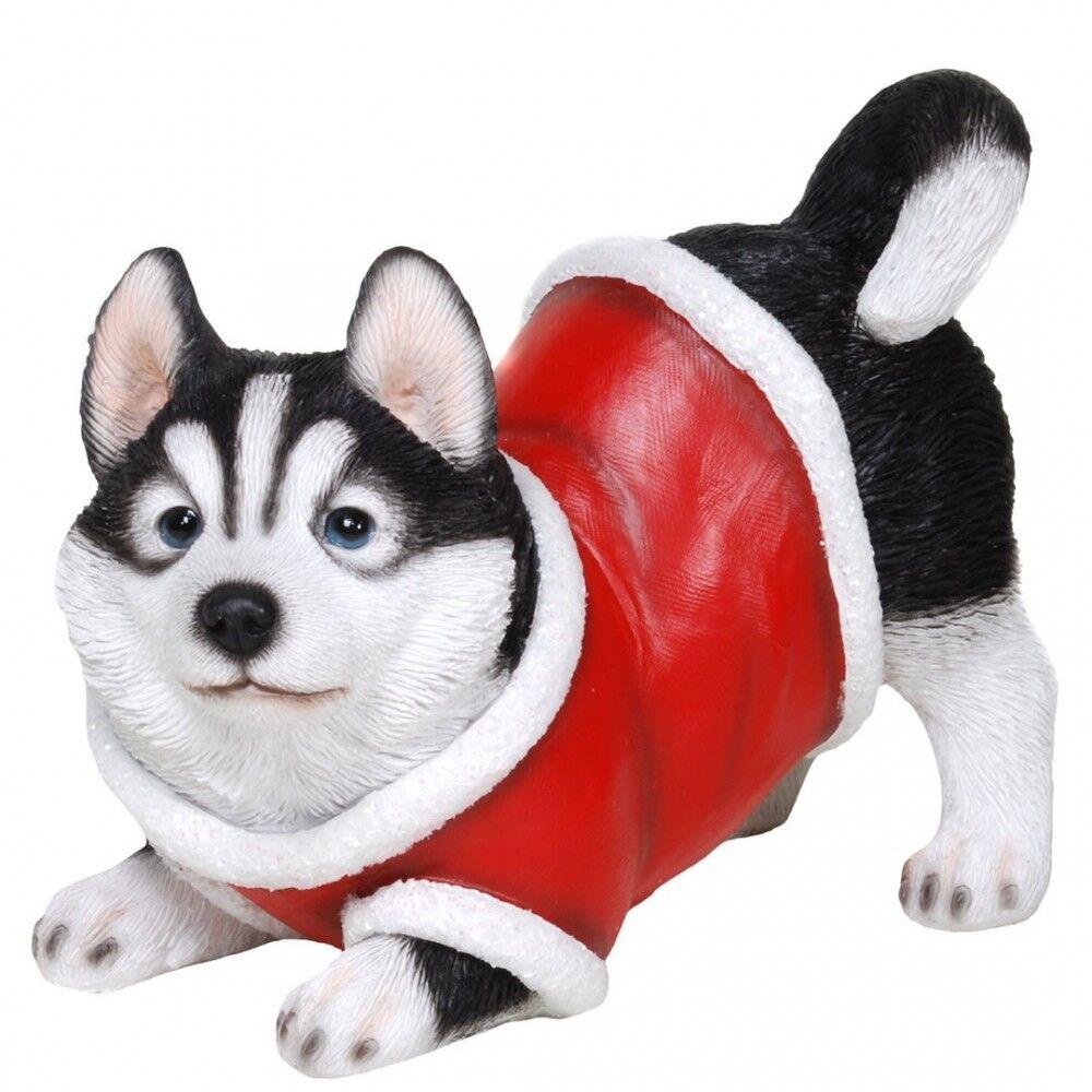 Husky mit Weihnachtsanzug Figur Weihnachts Hund | eBay