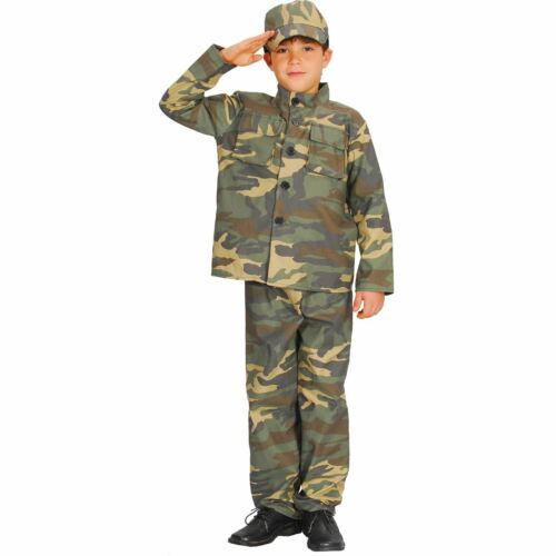 Childrens Action Commando Camo Solider Fancy Dress Up Party Costume Outfit New