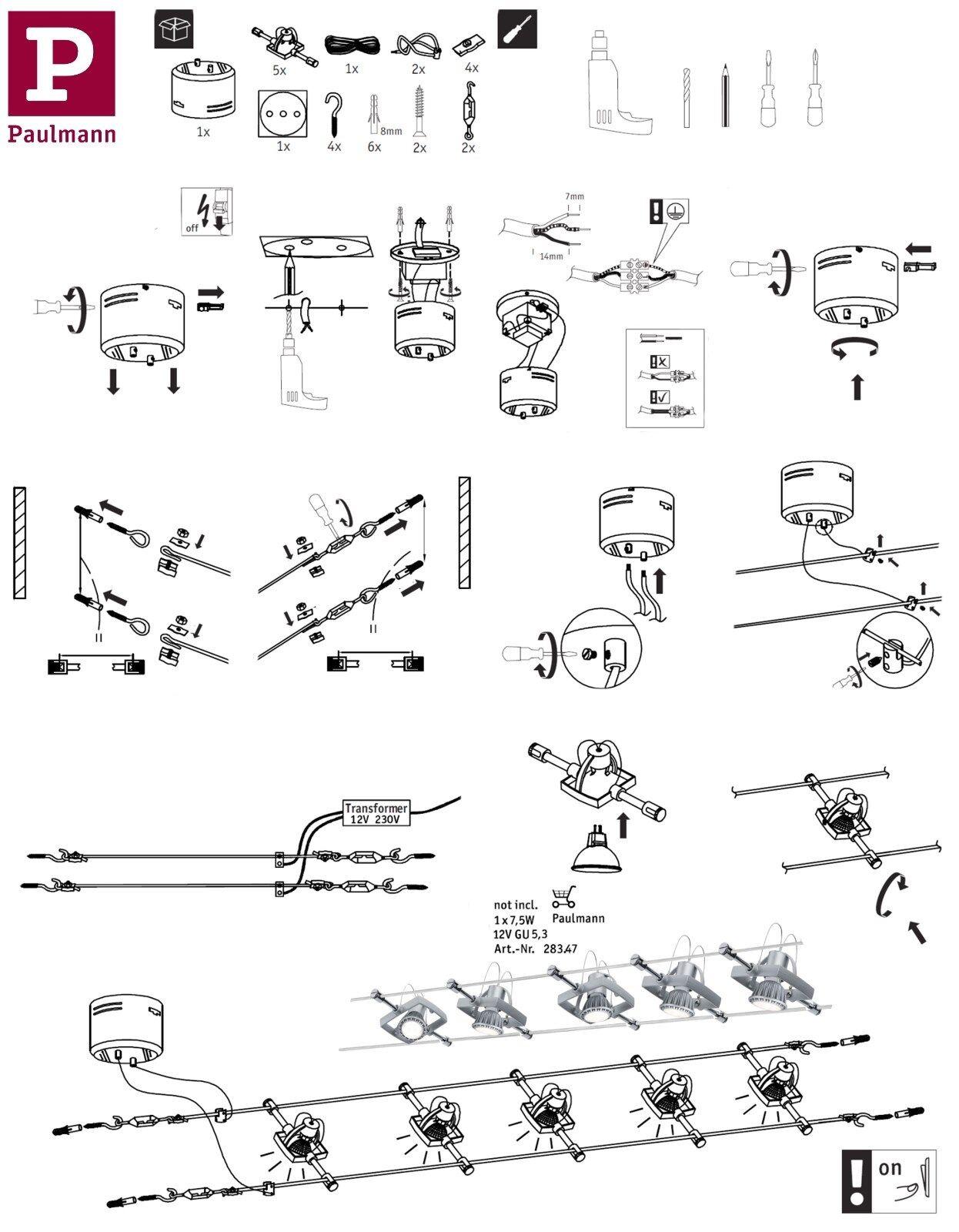Paulmann LED Seilsysteme Mac Mac Mac II mit 7er,5er,1er Spots Chrom Matt Gu5,3 Dimmbar | Sonderkauf  |  d40f9d