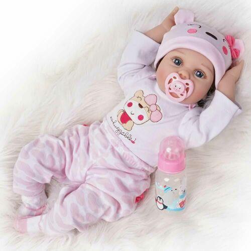 22/'/' Realistic Reborn Baby Dolls Handmade Newborn Vinyl Silicone Girl Doll Gifts