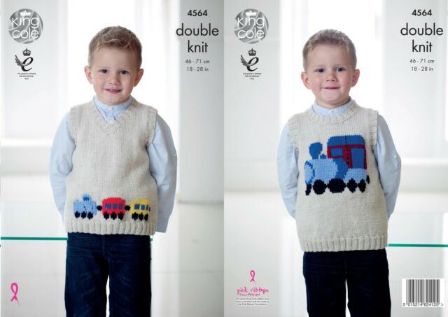 4719d499b7f4 Knitting Pattern Boys Sleeveless Round Neck Train Jumper DK King ...