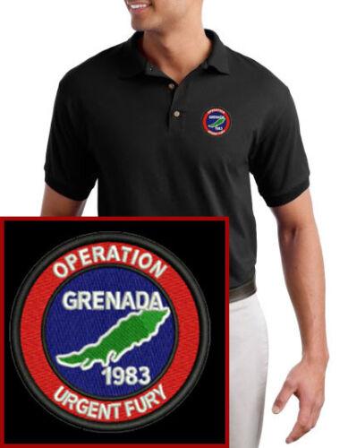 Grenada 1983 Operation Urgent Fury Military Logo EMBROIDERED Black Polo Shirt