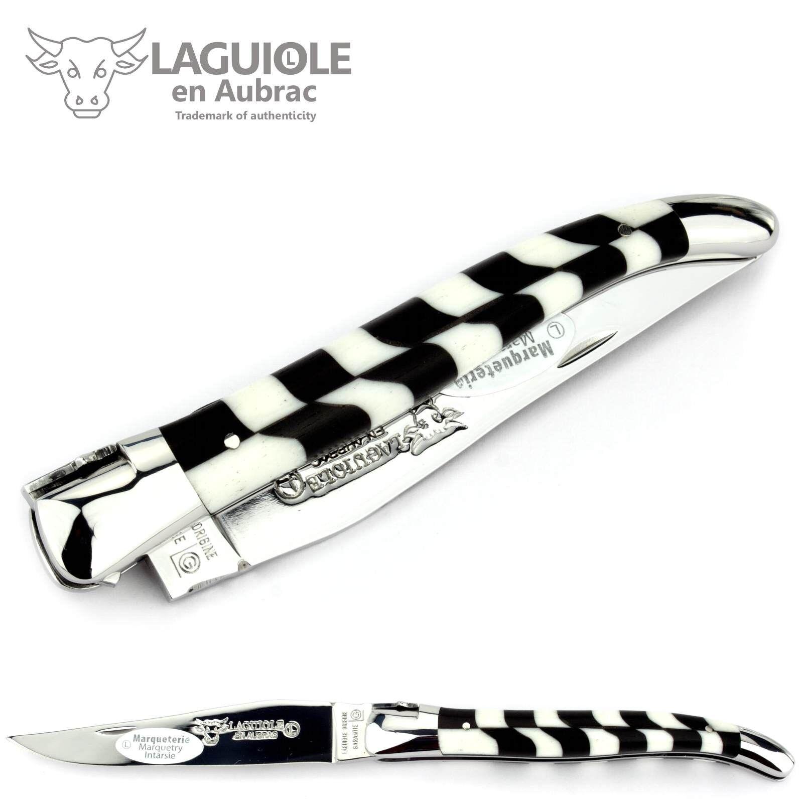 Laguiole Aubrac 12 cm Taschenmesser Freimaurer Griff Intarsie Ebenholz   Knochen