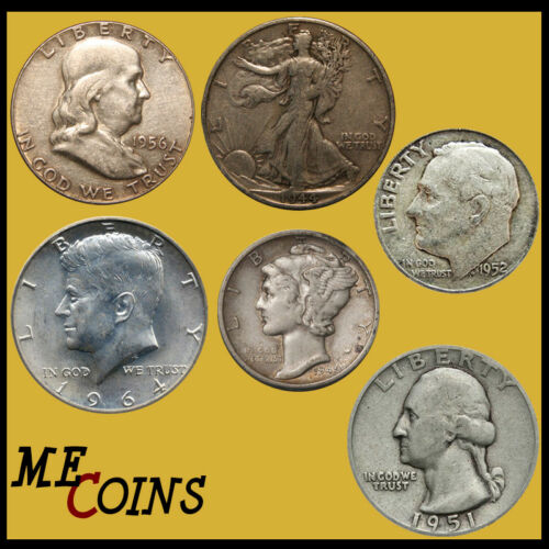 $1.00 Face Value 90/% Silver Mixed Old US Coins Half Dollar Included Bullion Lot