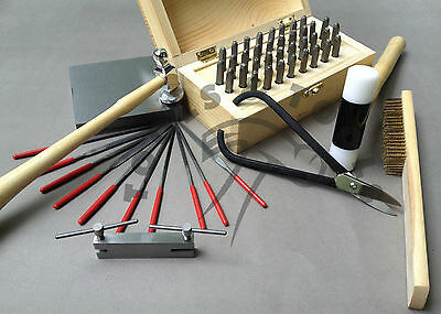 "Metal Stamping Tool Kit Alphanumeric Stamps Chasing Hammer 4/"" Steel Block Punch"