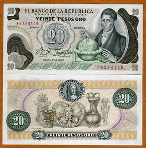 Pick-413b.3 TDLR 2 PESOS ORO 1977 COLOMBIA UNC NOTE PRINTER Thomas De La Rue