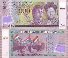 Paraguay P228c, 2000 Guarani, Adela & Celsa Speratti / parade POLYMER UNC, UV