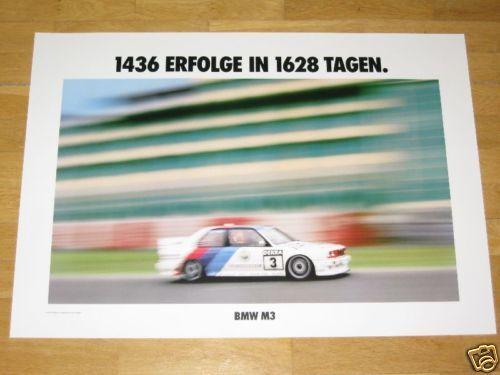 ORIGINAL VINTAGE in MINT RARE BMW M3 E30 EVO POSTER 3-1436 SUCCESSES