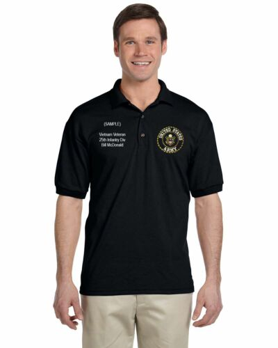 US Army Personalized Custom Embroidered Men/'s Polo Shirt NWT