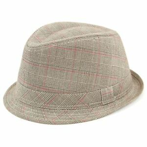 Check Tweed Trilby Hat Fedora Brown Grey New Country Men Women Cap ... 573d38e8bf1c