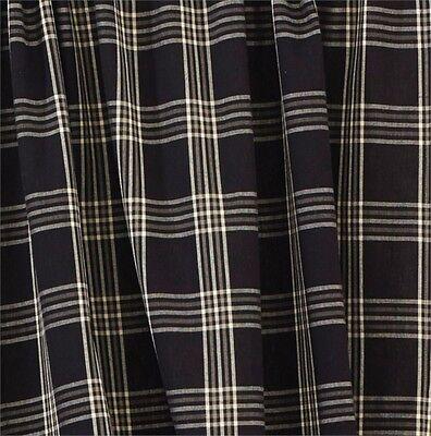 Country Black Coffee Shower Curtain 72x72 Black Gray Cream Plaid Cotton