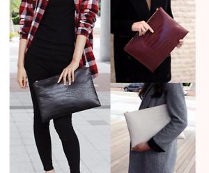 Details zu XXL Clutch Handtasche klein Business Kroko schwarz Kunstleder weiß Tasche Style