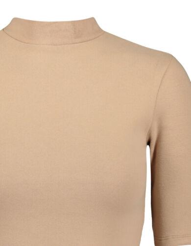 Donna cotone S//S Mock Neck collo alto spessore Turtle Roll Elasticizzato T Shirt Tops