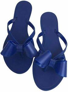 Women Flip-Flops Pearls Bow Sandals Beach Flat Rivets Rain Jelly Gold Pearls