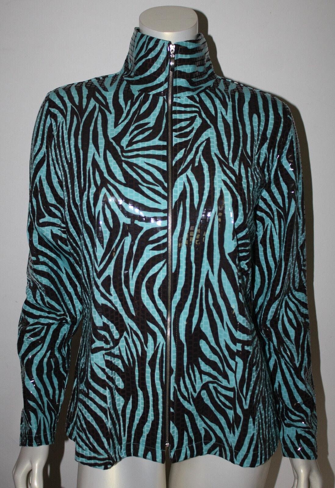 MISOOK Azul Turquesa Marrón Animal Print trémulo Chaqueta  M nuevo con etiquetas  60% de descuento