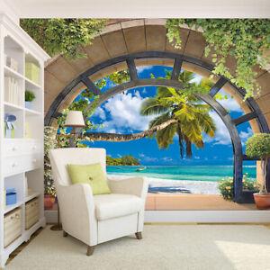 3D-Window-Tropical-Beach-Palm-Tree-Self-adhesive-Wall-Murals-Wallpaper-Poster