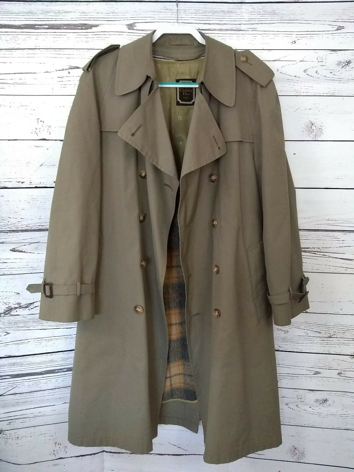 Herren Vintage 1960's Christian Dior Long Trench Rain Coat Tartan Wool Lined 42 R