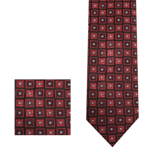 "Vintage Square Design 2.75/"" Inches Necktie and Pocket Square Hanky Set Red Wine"