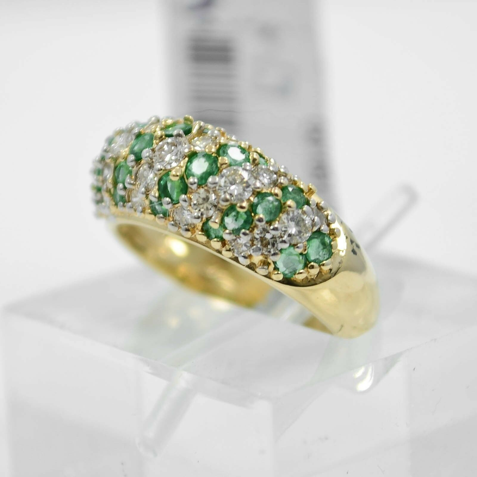 Emerald & Diamonds Ring 14K Yellow gold 1.07Ct in total SIZE 4