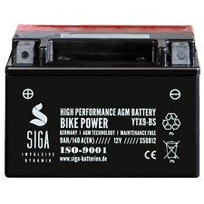 SIGA 9Ah 12V AGM Motorrad Batterie YTX9-BS Startkraft 140A/EN YTR9-BS YTX9-4