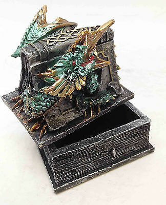 Celtic Beowulf Dragon Trapped In Tombstone Small Jewelry Trinket Box Figurine