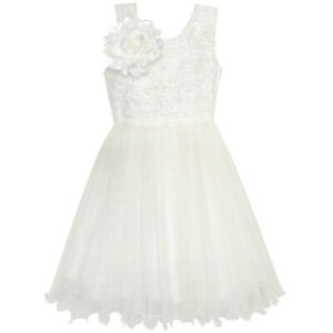 Flower-Girl-Dress-Ivory-Sequin-Bridesmaid-Wedding-Party-Age-6-12-Years-Pageant