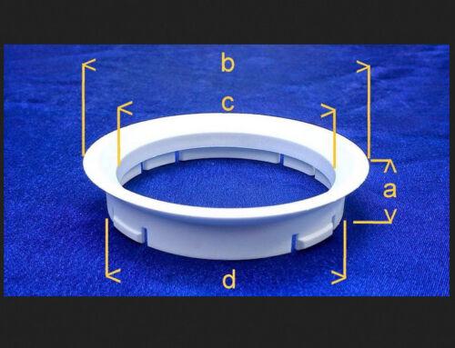 4 Piezas Anillas de centrado 65,0 mm 57,1 mm negro//gris para llantas de aluminio 1029