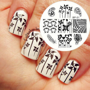 Born Pretty Round Nail Art Stamping Template Windmills Feather Theme