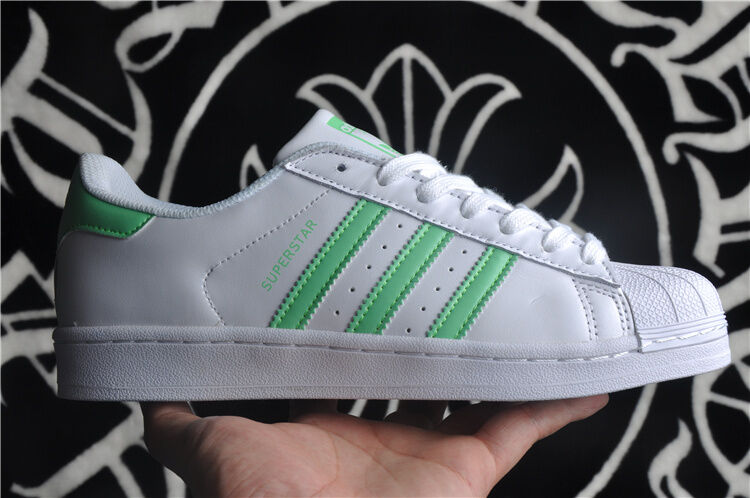 Adidas Originals Superstar Womens Green Athletic Sneakers White Shoes US 8.5