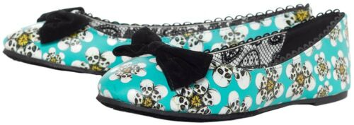 IRON FIST TRIPPING DAISIES SKULL FLORAL ROCKABILLY PUNK GOTHIC ROCK FLATS SHOES