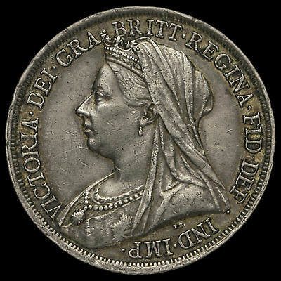 1893 Queen Victoria Veiled Head Silver LVI Crown, GVF