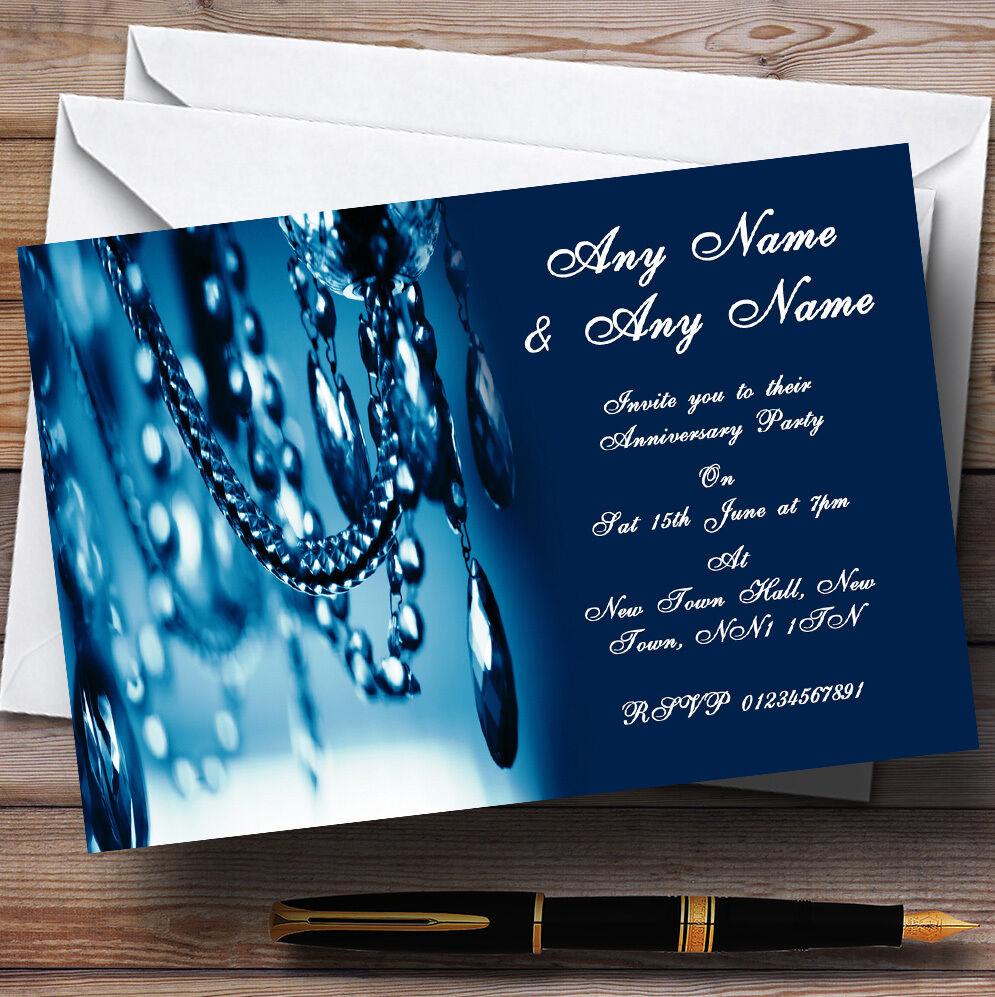 BLU CRISTALLO CRISTALLO CRISTALLO LAMPADARIO nozze anniversario partito inviti personalizzati c11b6e