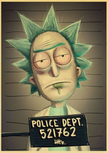 Rick and Morty Vintage Posters High Quality Wall Stickers Home Decoration