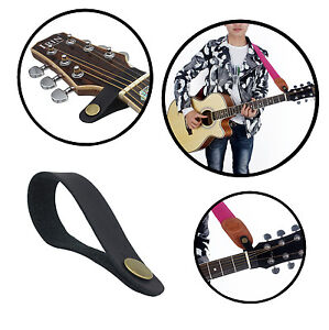 3 X Leather Headstock Tie Straps Button Hook For Acoustic Electric