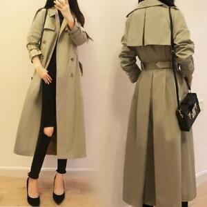 Bælte Trench Casual Double Breasted Jacket Long Coat Parka Khaki Kvinders OHwqIdvq