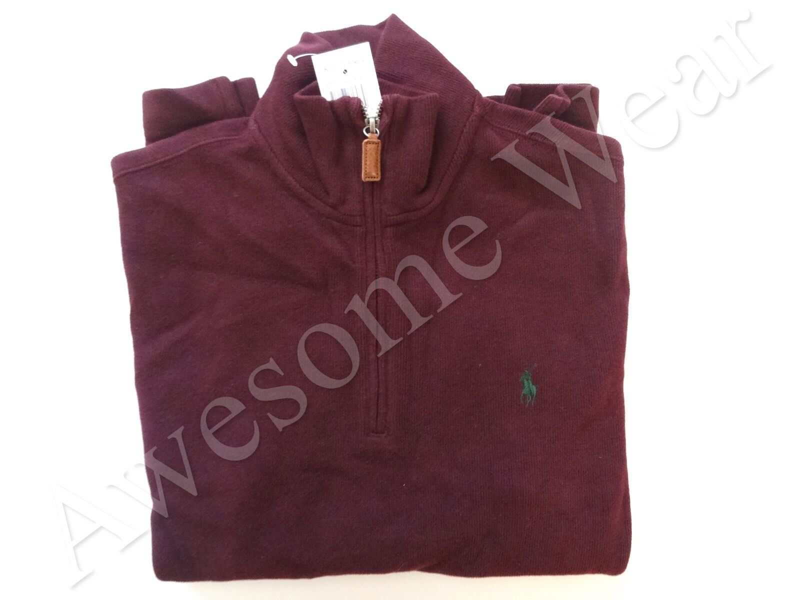 New Ralph Lauren Polo Burgundy ROT Half Zip Ribbed 100% Cotton Sweater Größe S