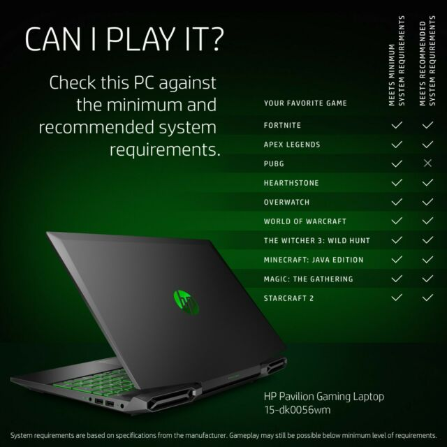 HP Pavilion 15.6 inch (256GB, Intel Core i5 10th Gen., 2.50GHz, 8GB) Gaming Lapt