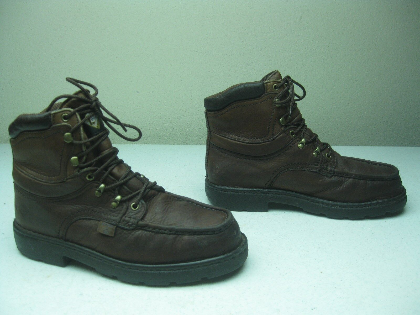 DISTRESSED MADE IN & USA BROWN LACE UP LEHIGH & IN DRY STEEL TOE WORK BOOTS 10 EE 3d28a5