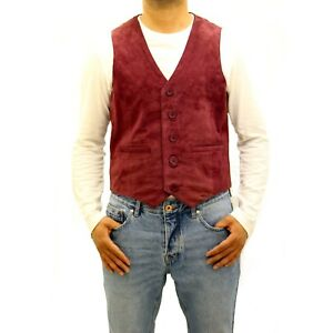 Mens Button Formal Waistcoat Traditional Classic Five Red Leather Burgundy Suede w7nwPqZS