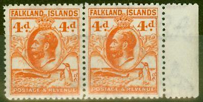 Falkland Inseln 1932 4d Orange Sg120 V.f Mnh Paar Vertrieb Von QualitäTssicherung Falklandinseln Süd- & Mittelamerika